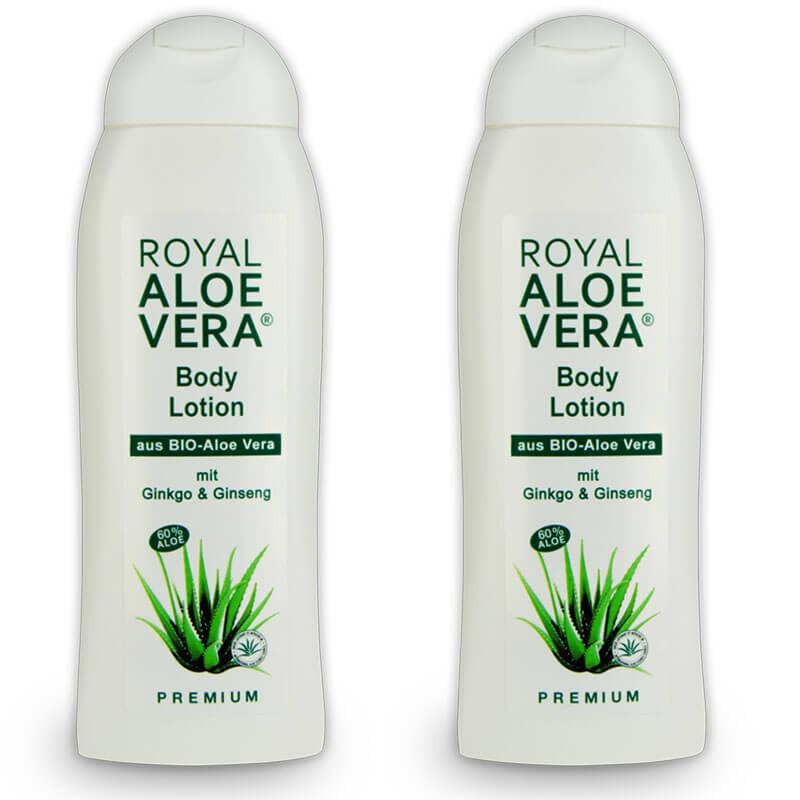royal aloe vera body lotion mit ginko und ginseng 60 bio aloe x 2 royal aloe vera pflege gel. Black Bedroom Furniture Sets. Home Design Ideas