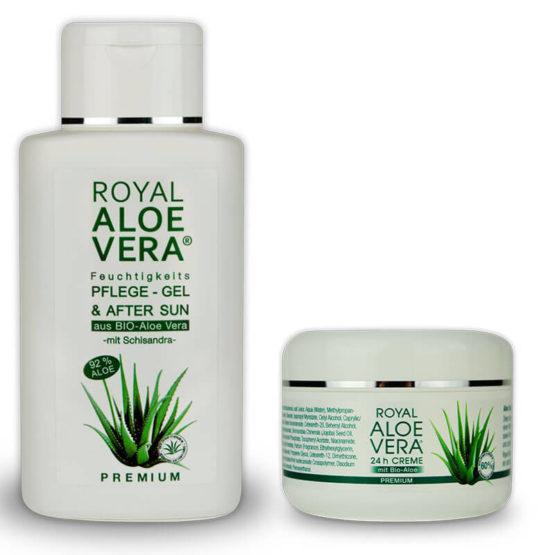 Royal-Aloe-Vera-Pflege-Gel-und-After-Sun-Schisandra-24h-Creme-Set