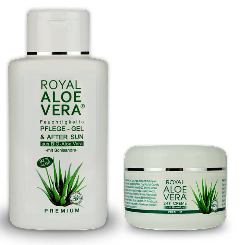 royal aloe vera pflege set premium gel 200 ml und 24h creme aus bio aloe 100 ml royal aloe. Black Bedroom Furniture Sets. Home Design Ideas